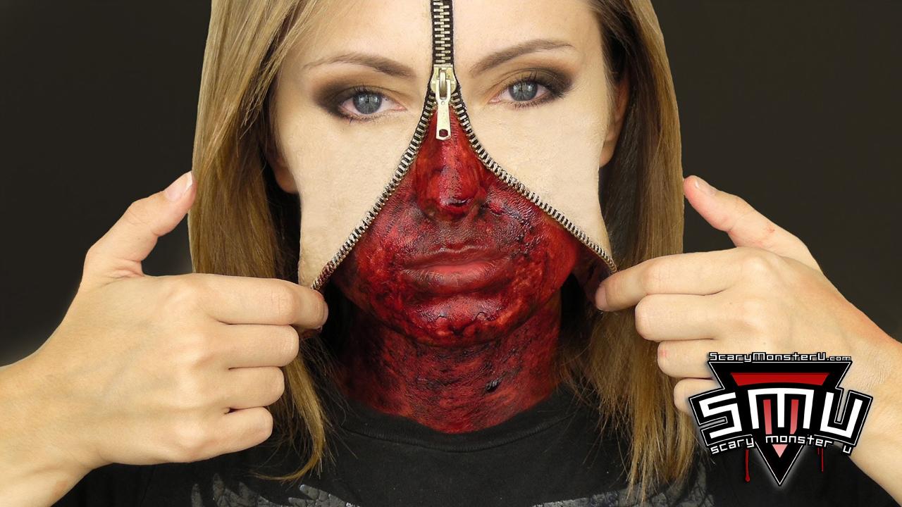 Scary monster university unzipped zipper face archives scary unzipped zipper face makeup tutorial baditri Images